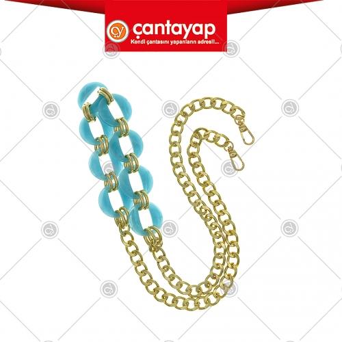 Akrilik zincirli çanta sapı mavi
